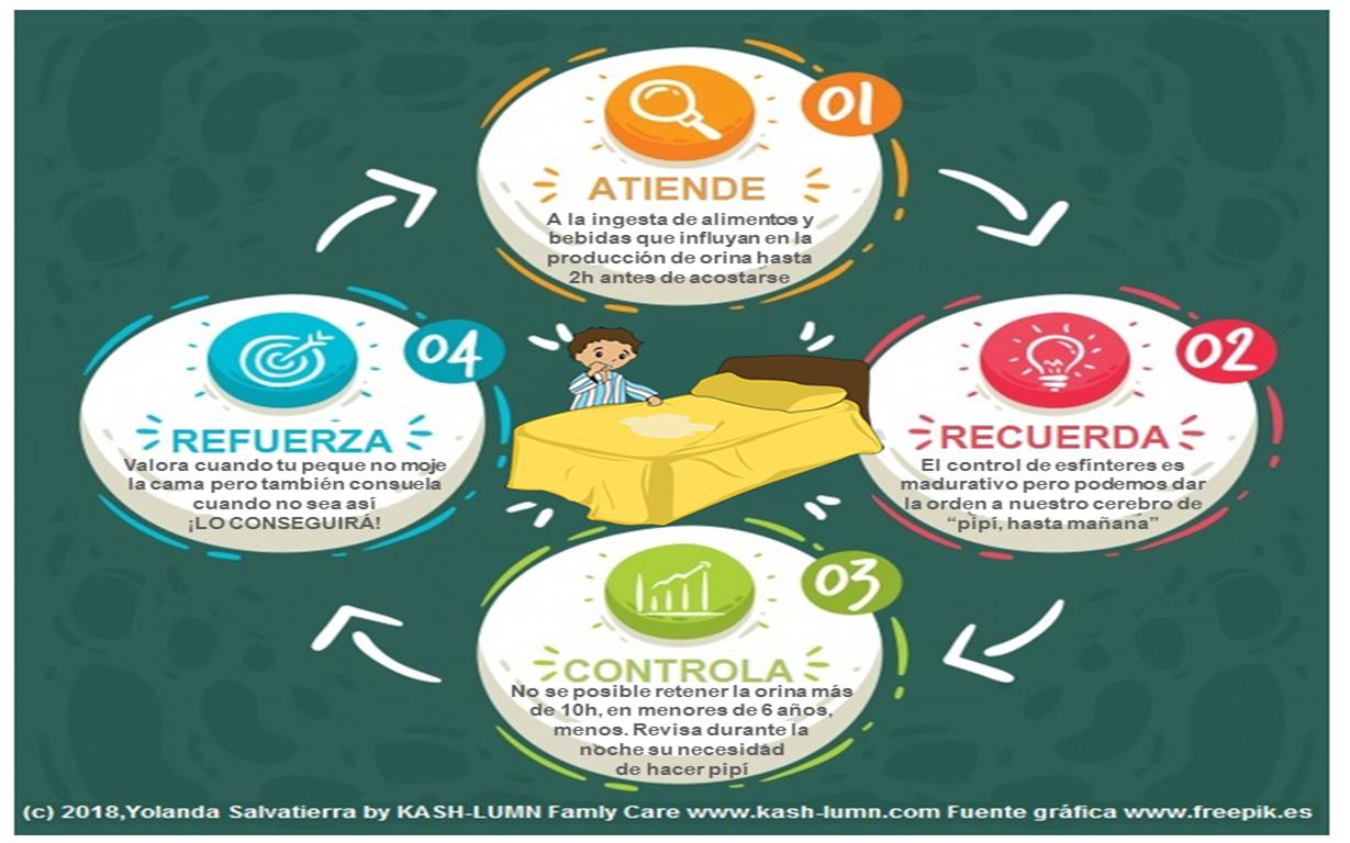 Infografía sobre las Pautas de Higiene Educativa para la prevención de la Enuresis Nocturna